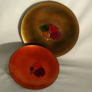 Set of 2 signed Sally de Paolo MCM copper plates